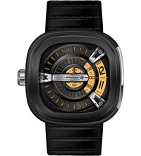 Seven Friday M2 01 Leather And Steel Watch Black