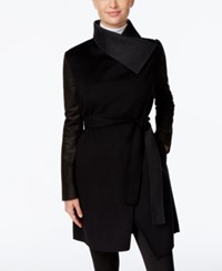 Vera Wang Leather Sleeve Wrap Coat Black Deep Charcoal