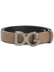 Dolce And Gabbana Logo Plaque Belt Grey