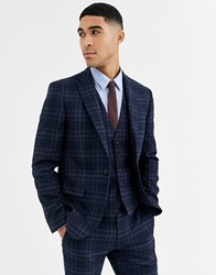 Rudie Heritage Check Skinny Fit Suit Jacket Navy