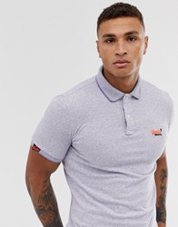 Superdry Orange Label Embroidered Logo Polo In Grey