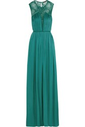 Catherine Deane Vyra Chantilly Lace Paneled Silk Gown Teal