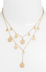 Rebecca Minkoff Etched Coins Double Layer Necklace Gold