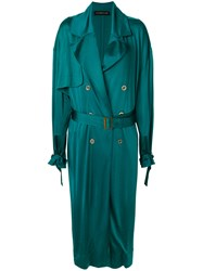 Alexandre Vauthier Long Belted Coat Green