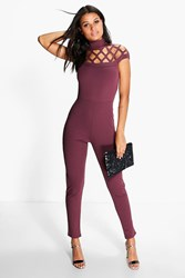 Boohoo Anni Statement Neck Skinny Leg Jumpsuit Plum
