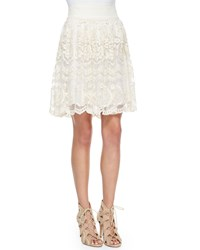 Golden By Jen Rossi Tesoro Lace Trim A Line Skirt Natural