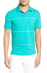 Men's Southern Tide 'Boardwalk Breton Stripe' Stretch Cotton Jersey Polo Emerald