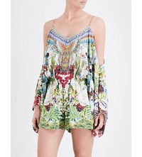 Camilla Exotic Hypnotic Cold Shoulder Silk Georgette Playsuit