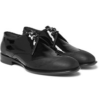 Alexander Mcqueen Distressed Patent Leather Derby Shoes Black