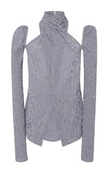 Rosie Assoulin Long Sleeve Wrap Seersucker Gingham Top Light Grey