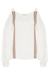 Zeus Dione Silk Cutout Shoulder Top With Lacing White