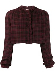 Kristina Ti Cropped Check Shirt Red