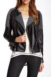 Fillmore Moto Cross Mixed Media Faux Leather Jacket Gray