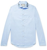 Gucci Logo Embroidered Cotton Oxford Shirt Blue