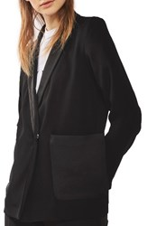 Topshop Women's Satin Pocket Blazer Black