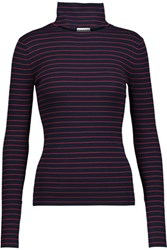Tanya Taylor Lia Cutout Striped Stretch Rib Knit Turtleneck Sweater Midnight Blue