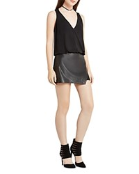 Bcbgeneration Faux Leather Panel Romper Black