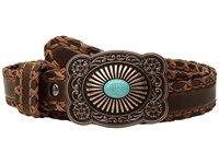 Ariat Cross Stitch With Lace Edge Belt Brown Women's Belts