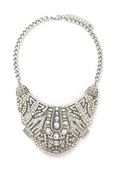 Forever 21 Art Deco Statement Necklace B.Silver Clear
