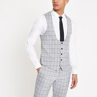 River Island Blue Check Print Suit Waistcoat