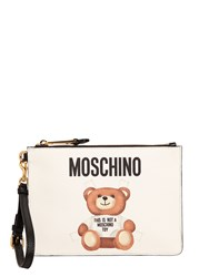 Moschino Teddy Bear Tab Print Faux Leather Pouch