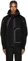 Y 3 Sport Black Wool Hooded Jacket