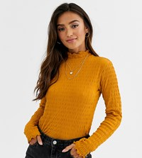 Jdy Smock Long Sleeve Top With High Neck In Mustard Yellow