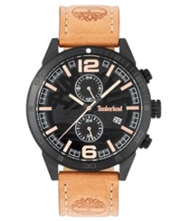 Timberland Men's Sagamore Fawn Brown Leather Strap Watch 46Mm Chocolate