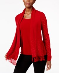 Karen Scott Luxsoft Embellished Scoop Neck Sweater With Scarf Only At Macy's Red Cherry