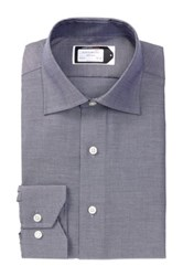 Lorenzo Uomo Long Sleeve Trim Fit Oxford Wrinkle Free Dress Shirt Purple