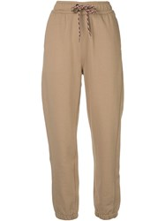 Burberry Embroidered Logo Track Pants Brown