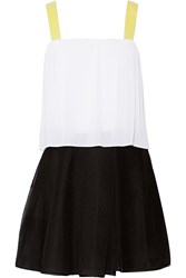 Sandro Color Block Plisse And Mesh Mini Dress White