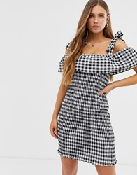 Glamorous Shirred Bodycon Dress With Tie Shoulders In Gingham Multi