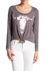 Chaser Graphic Knotted Long Sleeve Tee Gray