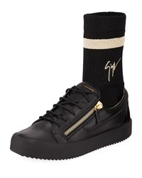 Giuseppe Zanotti Double Zip Low Top Sock Sneakers Black