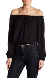 Astr Off The Shoulder Long Sleeve Crop Shirt Black