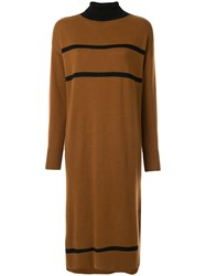 Loveless Striped Knitted Dress Brown