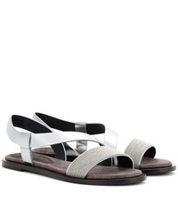Brunello Cucinelli Leather Sandals Silver