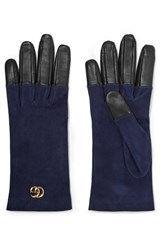 Gucci Viola Suede And Leather Gloves Navy