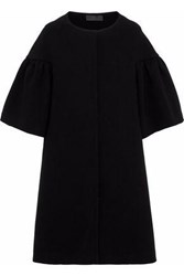 Gathered Crepe Coat Black