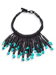 Nest Fringed Leather Horn And Turquoise Necklace Black Turquoise