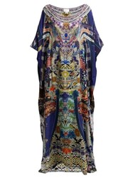 Camilla Darling's Destiny Print Silk Charmeuse Kaftan Navy Multi