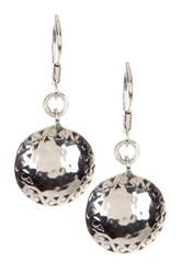 Lois Hill Sterling Silver Cutout And Hammered Round Drop Earrings Metallic