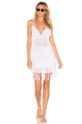 Indah Lorne Solid Crochet Mini Dress White