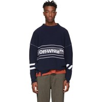 Off White Navy Logo Sweater