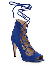 Saks Fifth Avenue Naylee Lace Up Suede Sandals Royal Blue