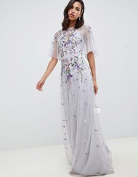 Asos Design Bridesmaid Floral Embroidered Dobby Mesh Flutter Sleeve Maxi Dress Dusty Grey