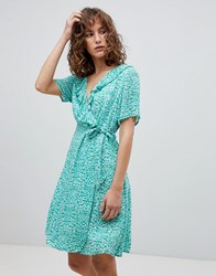 Suncoo Printed Wrap Dress Green