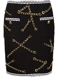 Moschino Boucle Infused Chain Detail Skirt Blue