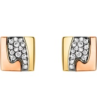 Georg Jensen Fusion Pave Set 18Ct Gold Stud Earrings Rose Gold And White